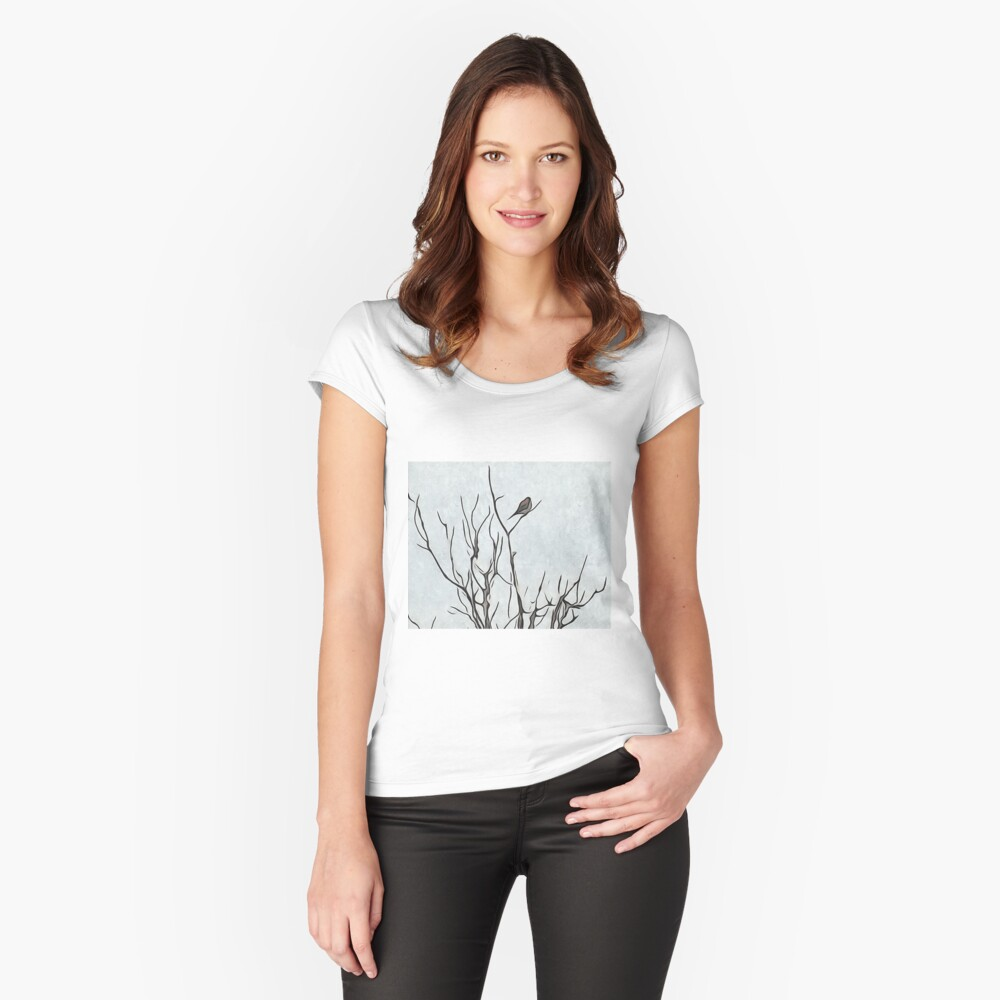 Bird in a Bush Women's Fitted Scoop T-Shirt Front