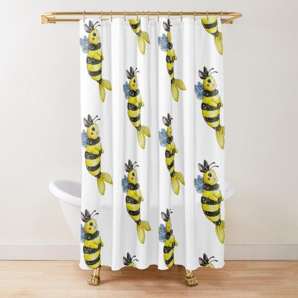 Bumble Bee Bunny Mermaid Watercolor Shower Curtain