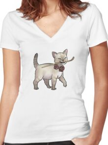Japanese Tea Ceremony Kitten - Matcha spoon thief Women's Fitted V-Neck T-Shirt