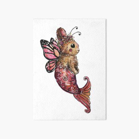 Butterfly Mermaid Bunny Watercolor Art Board Print