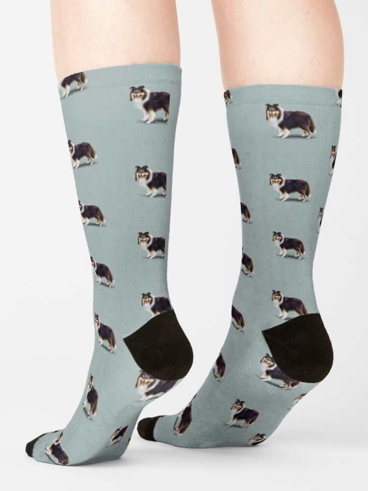 Alternate view of Tri Shetland Sheepdog Sheltie Socks