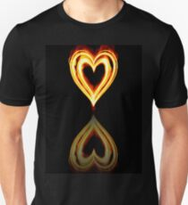 Flaming Heart on Fire with Reflection T-Shirt