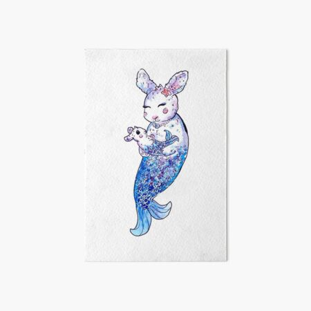 Mermaid Bunny Mother and Baby Nursery Watercolor Art Board Print