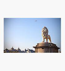 LION STATUE WESTMINSTER BRIDGE LONDON Photographic Print