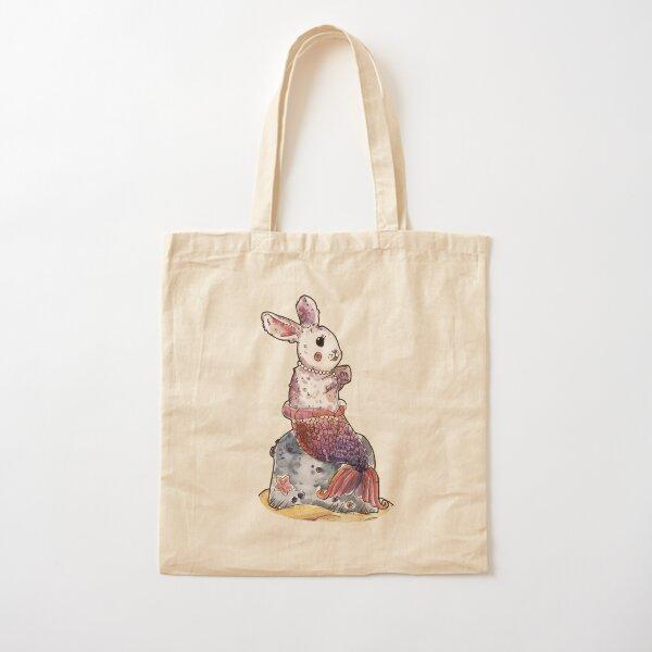 Mermaid Bunny Teacup Watercolor Cotton Tote Bag