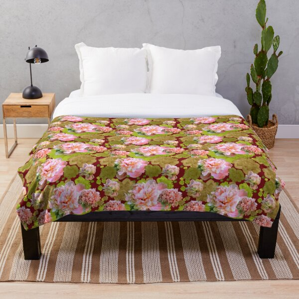 Pink and Green Peonies Throw Blanket