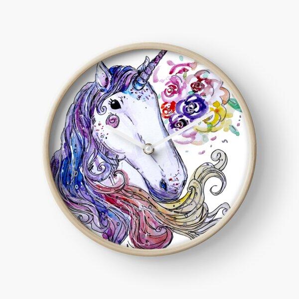 Unicorn Watercolor Clock