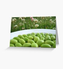 Edamame on a Plate in the Grass Greeting Card