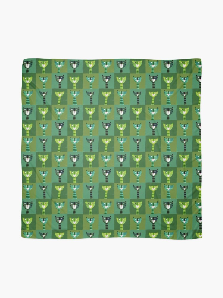 Alternate view of Green Cats Scarf