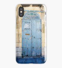 Blue weathered door iPhone Case/Skin