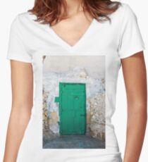 Green Door of Gozo Women's Fitted V-Neck T-Shirt