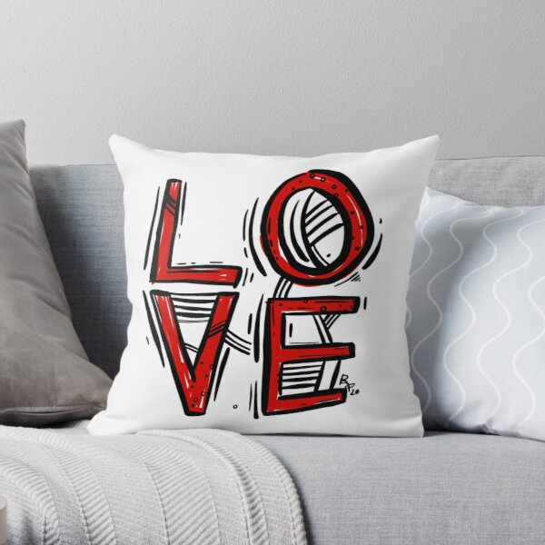 Love Black and Red ink Throw Pillow