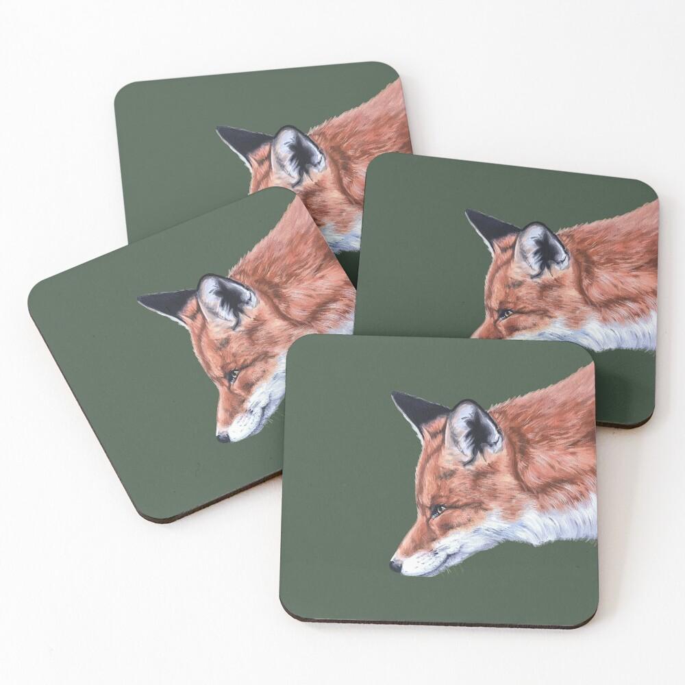 Fox no.2  by Julie Jones Coasters (Set of 4)