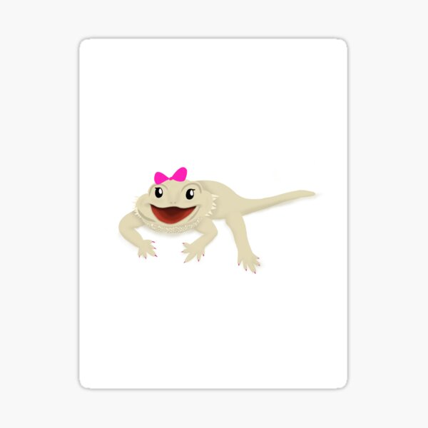 Smiling Bearded Dragon with Bow Sticker Sticker
