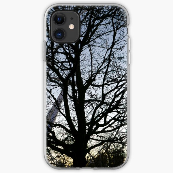 London Eye view thru trees near it iPhone Soft Case