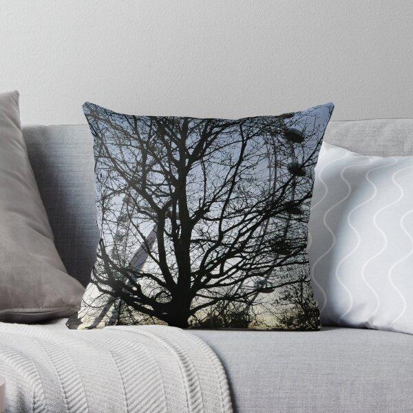 London Eye view thru trees near it Throw Pillow