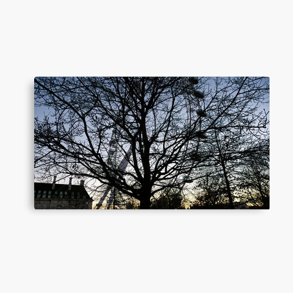 London Eye view thru trees near it Canvas Print