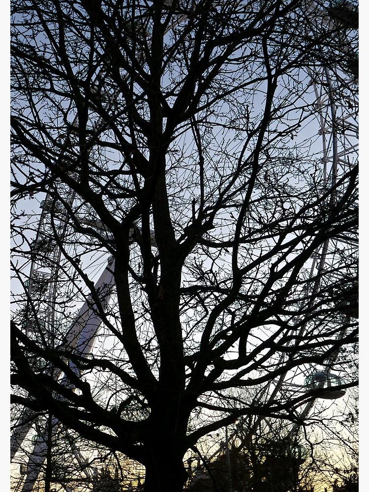 London Eye view thru trees near it by santoshputhran