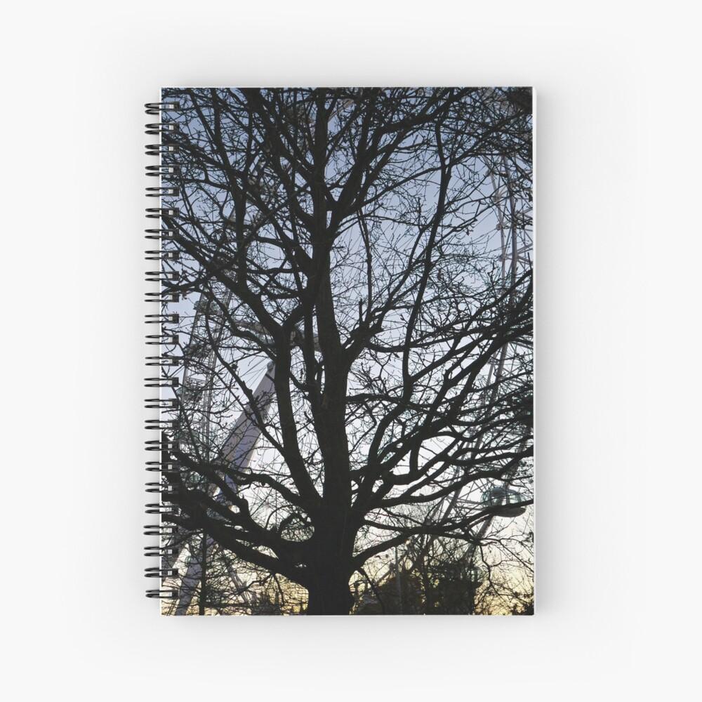 London Eye view thru trees near it Spiral Notebook