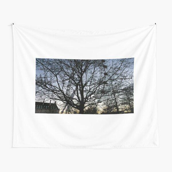 London Eye view thru trees near it Tapestry