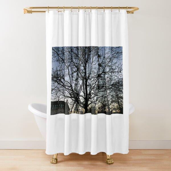 London Eye view thru trees near it Shower Curtain