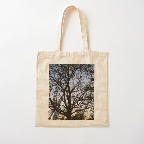 London Eye view thru trees near it Cotton Tote Bag