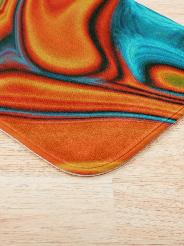 Alternate view of vivid modern Southwest hipster turquoise orange swirls Bath Mat