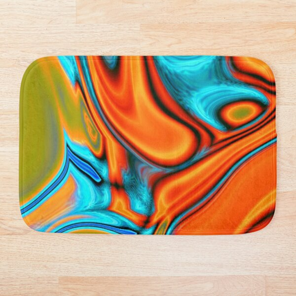 vivid modern Southwest hipster turquoise orange swirls Bath Mat