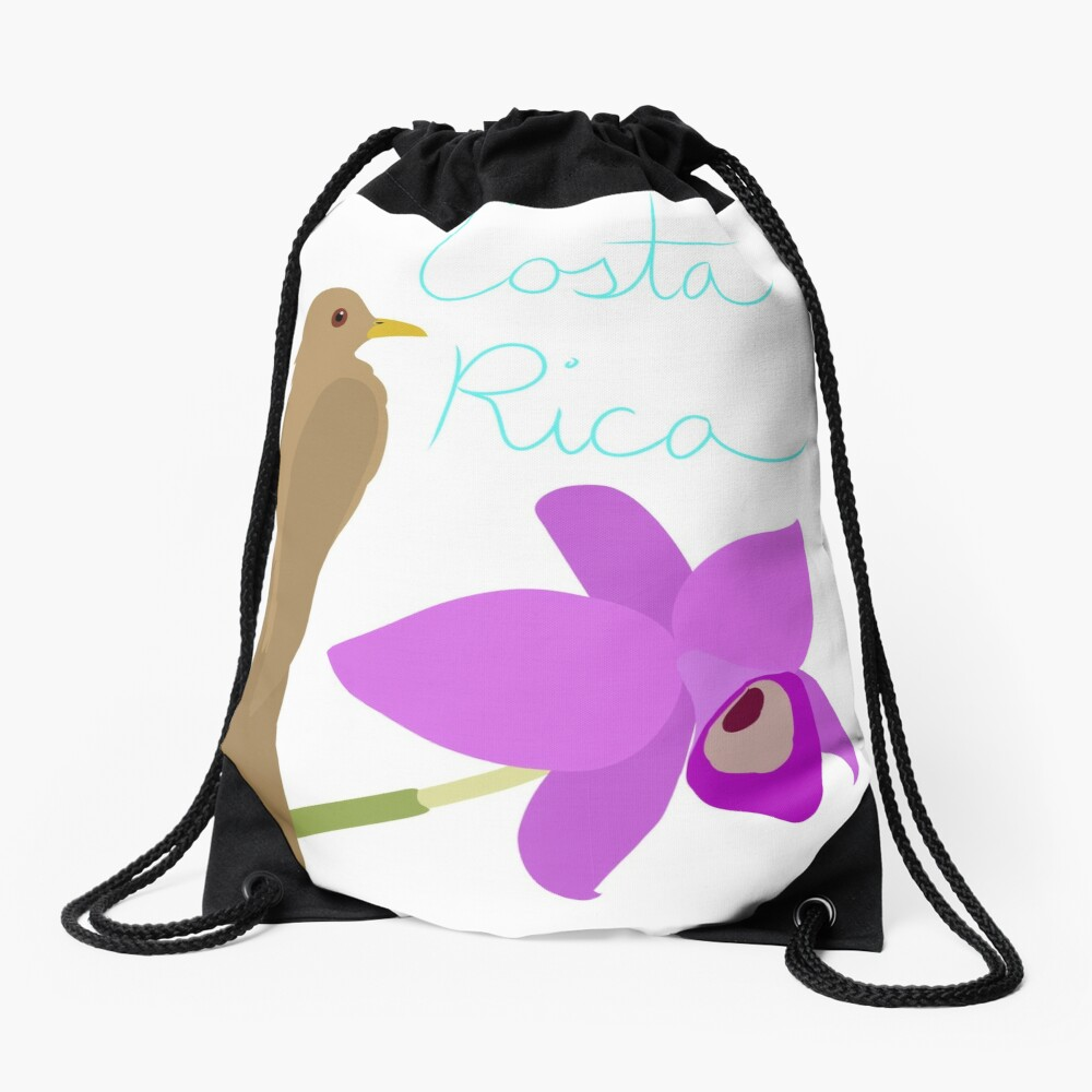 Costa Rica: Guaria Morada and Clay Colored Thrush Drawstring Bag