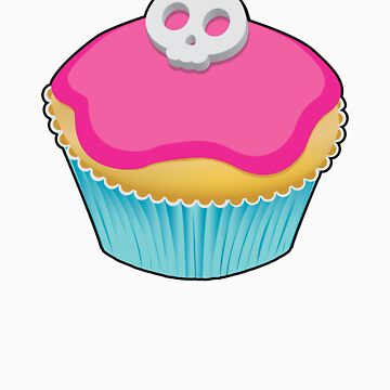 Skull Cupcake (pink) - sticker/light background by xTRIGx