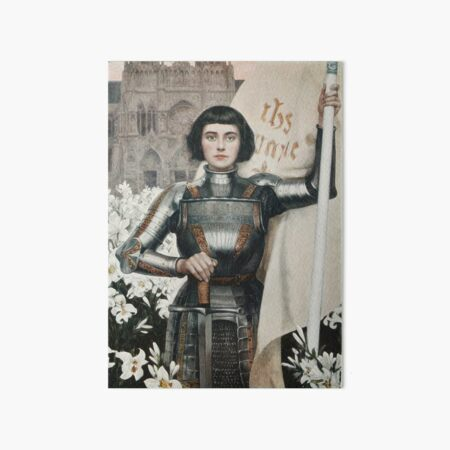 Combative Joan of Arc in Armor Painting Art Board Print