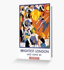 Brightest London Vintage Poster Restored Greeting Card