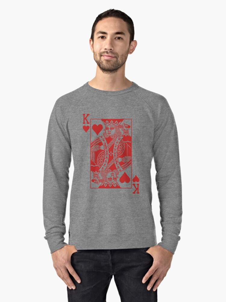 King Of Hearts Red Lightweight Sweatshirt By Joshdbb Redbubble