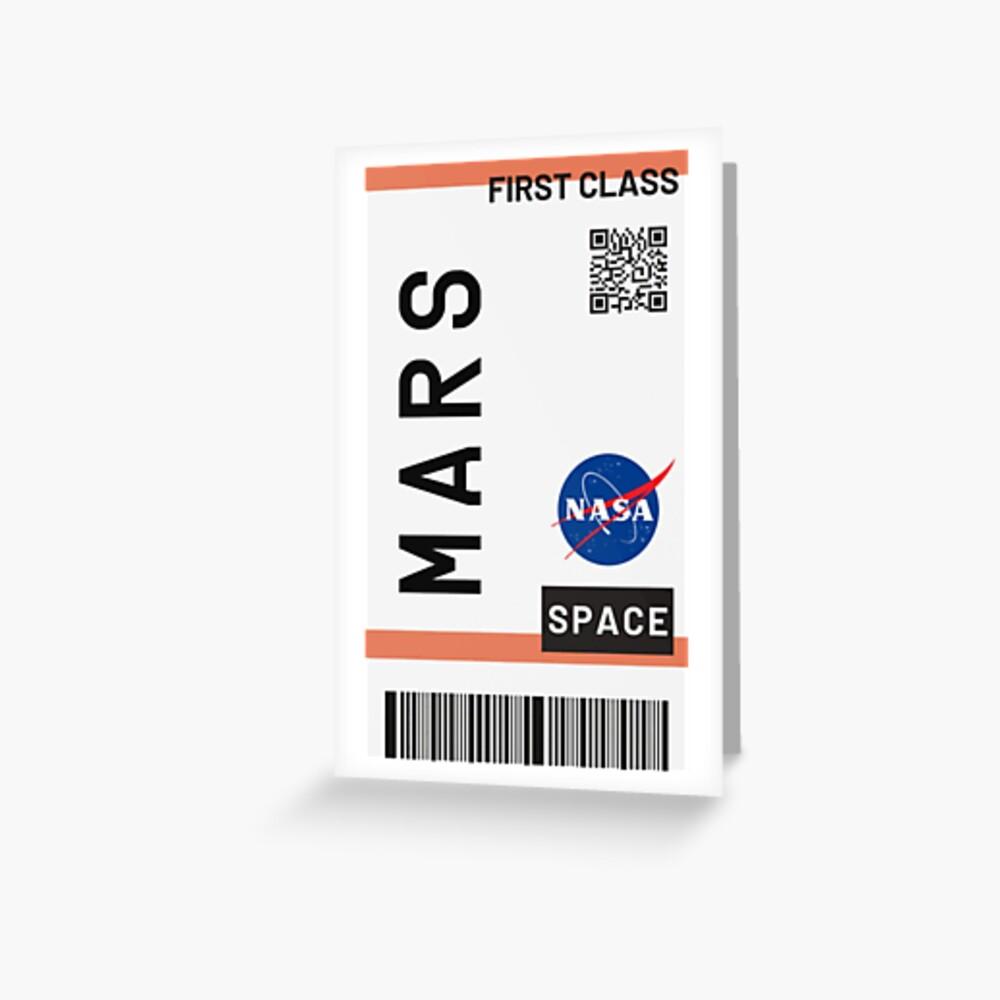 Bestseller - Mars Flugticket NASA Grußkarte