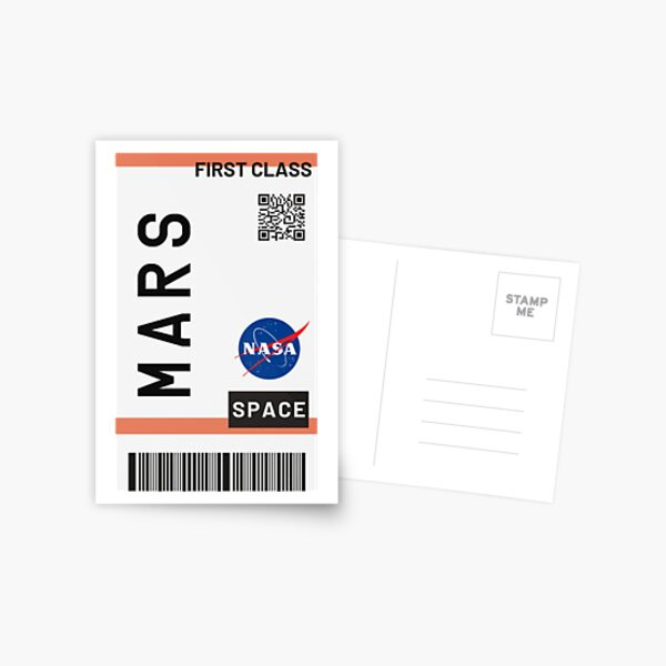 Best Seller - Mars plane ticket nasa Postcard