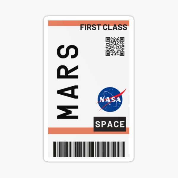 Bestseller - Mars Flugticket NASA Sticker