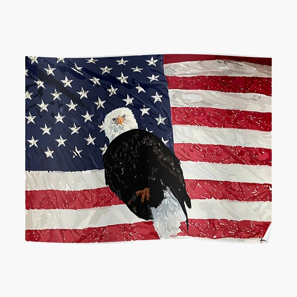 Patriotic Eagle and American Flag Poster