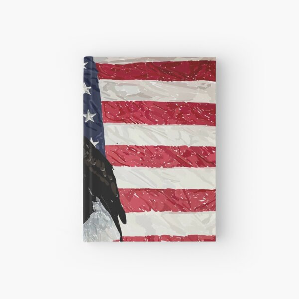 Patriotic Eagle and American Flag Hardcover Journal