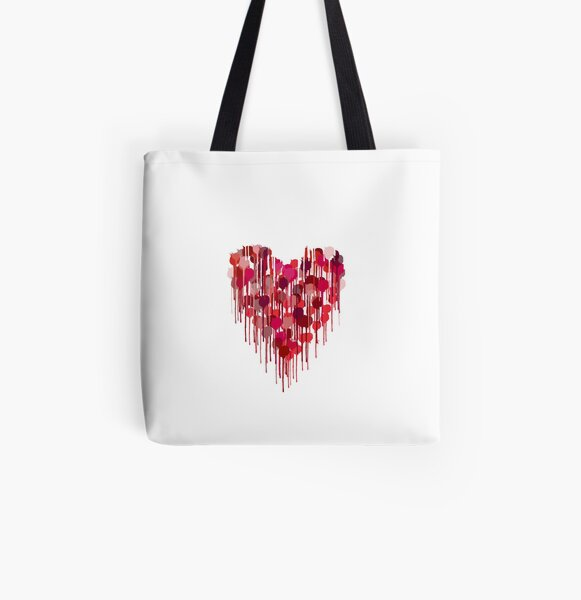 Dripping with Love Heart All Over Print Tote Bag