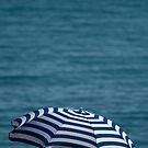 Striped beach umbrella by Liza Kirwan