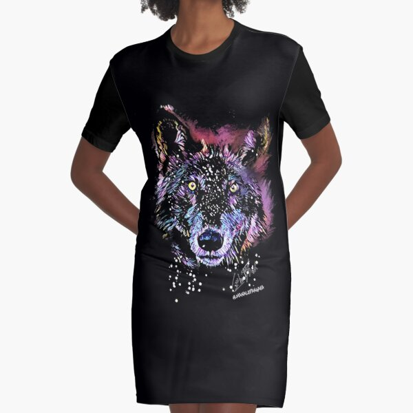 Eyes of the Wolf Graphic T-Shirt Dress
