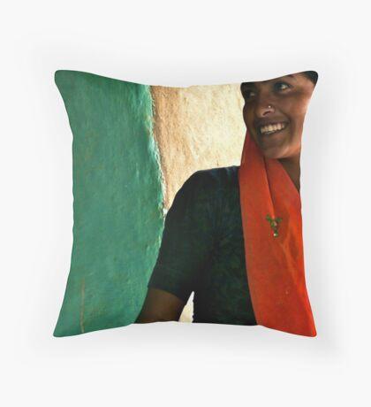 when the seamstress smiles Throw Pillow