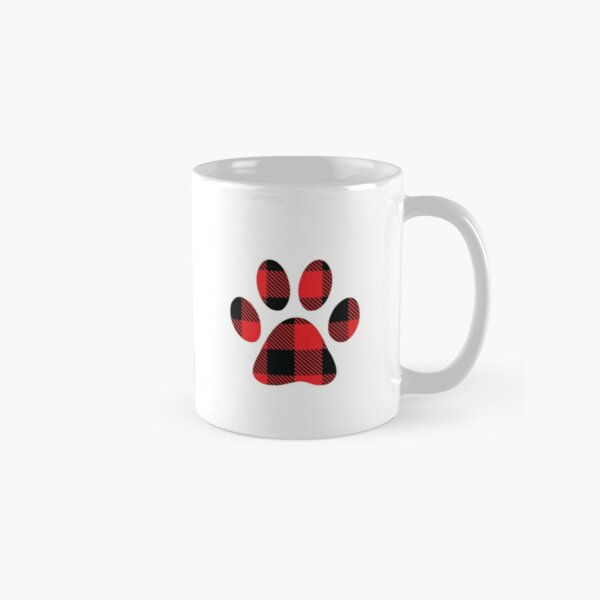Buffalo Plaid Red and Black Christmas Paw Print Classic Mug