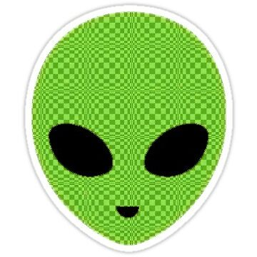 green checkered alien  by luluandizzie12