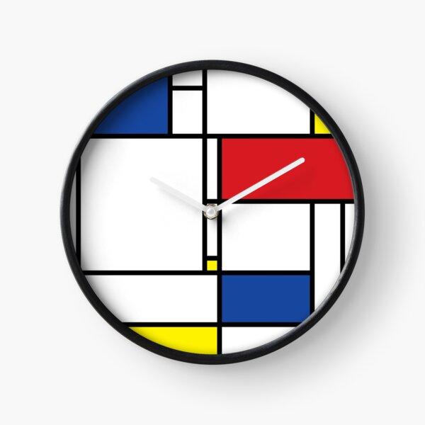 Mondrian Minimalist De Stijl Modern Art © fatfatin Clock