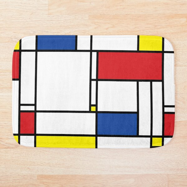 Mondrian Minimalist De Stijl Modern Art © fatfatin Bath Mat