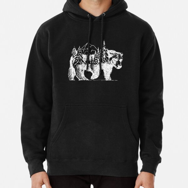 Bear with forest and beautiful landscape on its back Pullover Hoodie