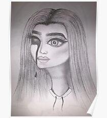 Creepy drawing horror girl sketch Hand drawn Poster