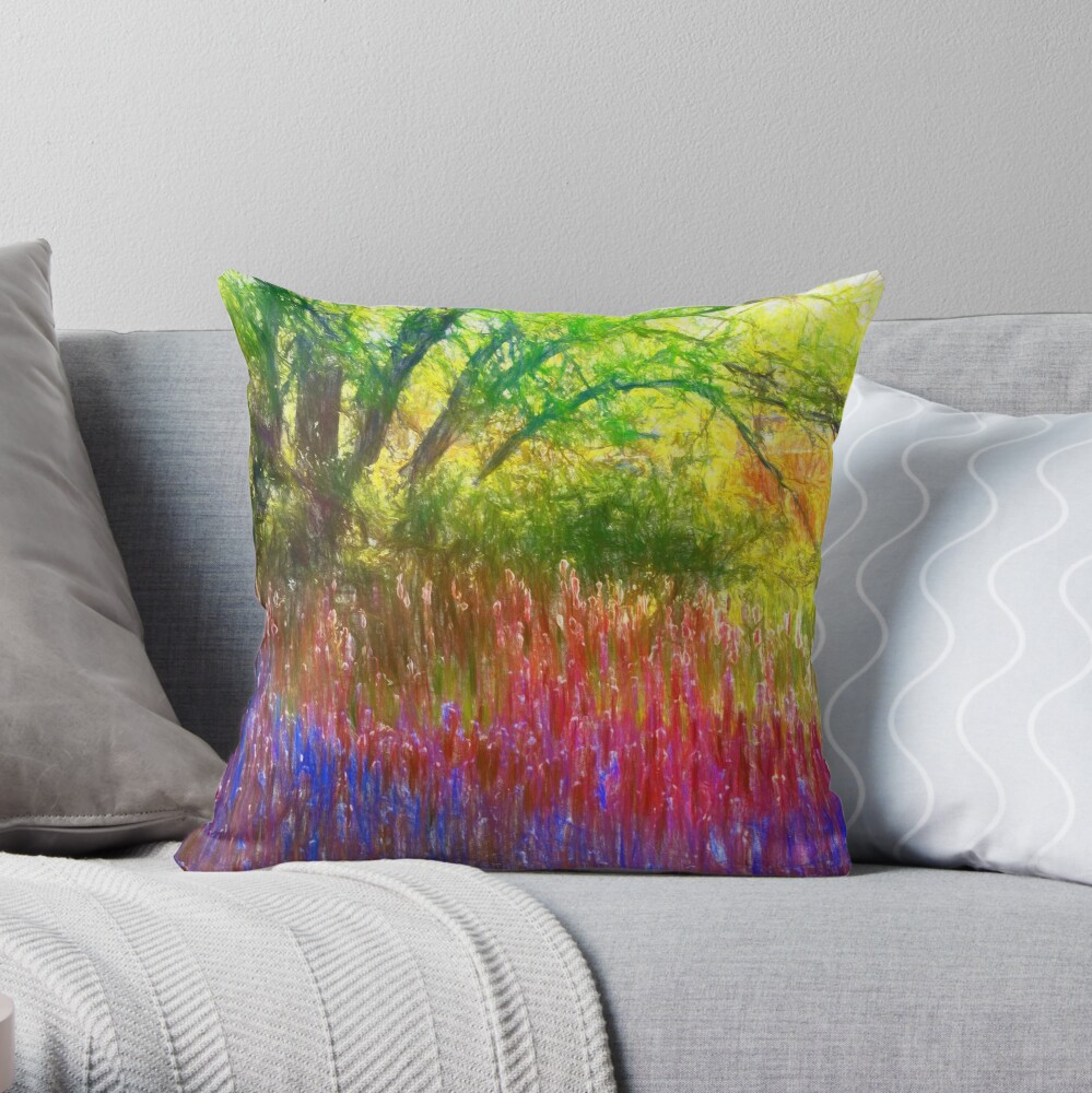 Spring in the park Throw Pillow