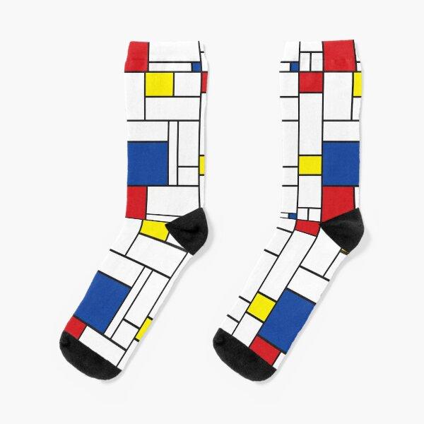 Mondrian Minimalist De Stijl Modern Art II © fatfatin Socks